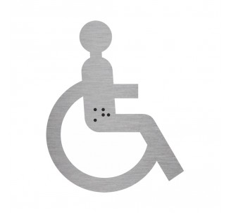 Silhouette handicapé en alu ou pvc avec braille