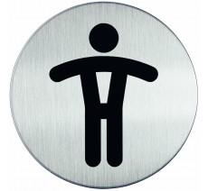 Plaque porte inox picto rond toilettes homme