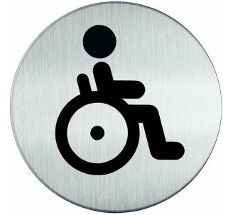 Plaque porte inox picto rond toilettes handicapé