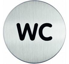 Plaque porte inox picto rond wc