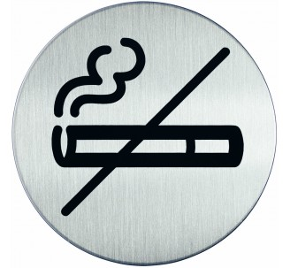 Plaque porte inox picto rond défense de fumer