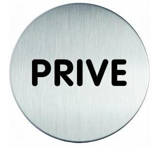 Plaque porte inox picto rond privé