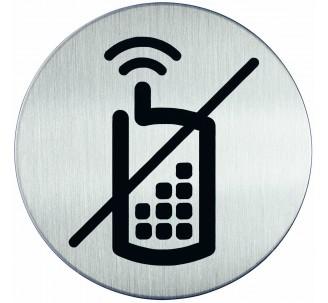 Plaque porte inox picto rond téléphone interdit
