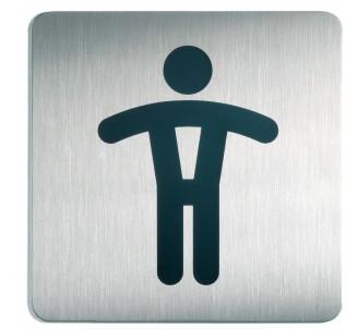 Plaque porte inox picto carré toilettes homme