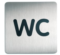 Plaque porte inox picto carré wc
