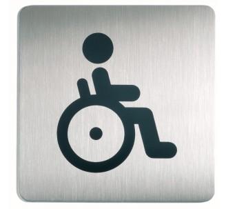 Plaque porte inox picto carré toilettes handicapé