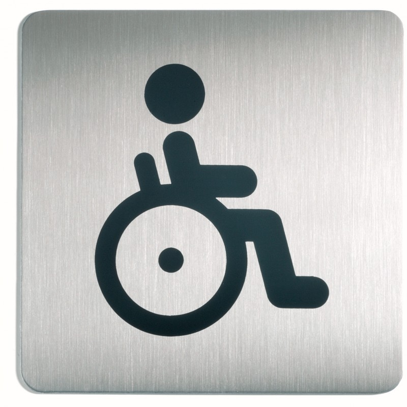 Plaque porte inox picto carr toilettes handicap for Porte handicape