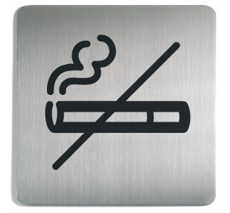 Plaque porte inox picto carré défense de fumer