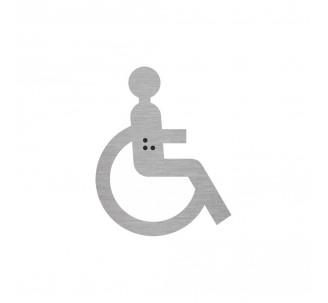 Silhouette enfant handicapé en alu ou pvc avec braille