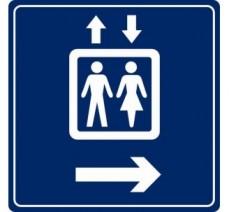 Pictogramme plexi couleur ascenseur flèche droite