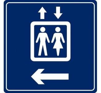 Pictogramme plexi couleur ascenseur flèche gauche