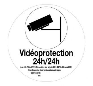 """Adhésif souple """"Vidéoprotection 24h/24h"""" Ø 80 ou 180 mm"""