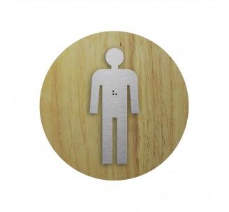 """Picto """"Côté bois"""" avec braille Toilettes hommes"""
