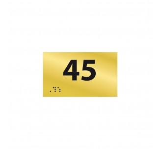 Numéro de chambre en relief / braille PVC or