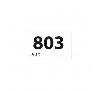 Numéro de chambre en relief / braille PVC blanc