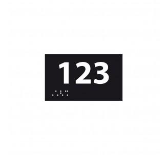 Numéro de chambre en relief / braille PVC noir