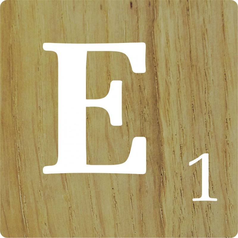 Lettre d co scrabble en bois naturel e - Lettre scrabble bois ...