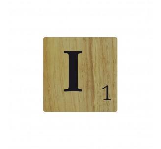 Lettre déco Scrabble en bois naturel I