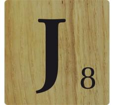 Lettre déco Scrabble en bois naturel   J