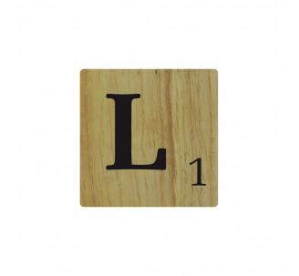 Lettre déco Scrabble en bois naturel L