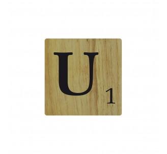 Lettre déco Scrabble en bois naturel U