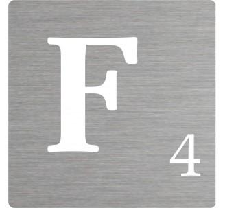Lettre déco Scrabble en alu F