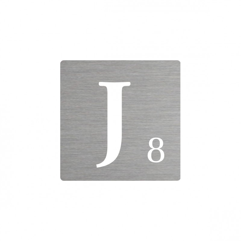 lettre j d corative type scrabble en aluminium. Black Bedroom Furniture Sets. Home Design Ideas