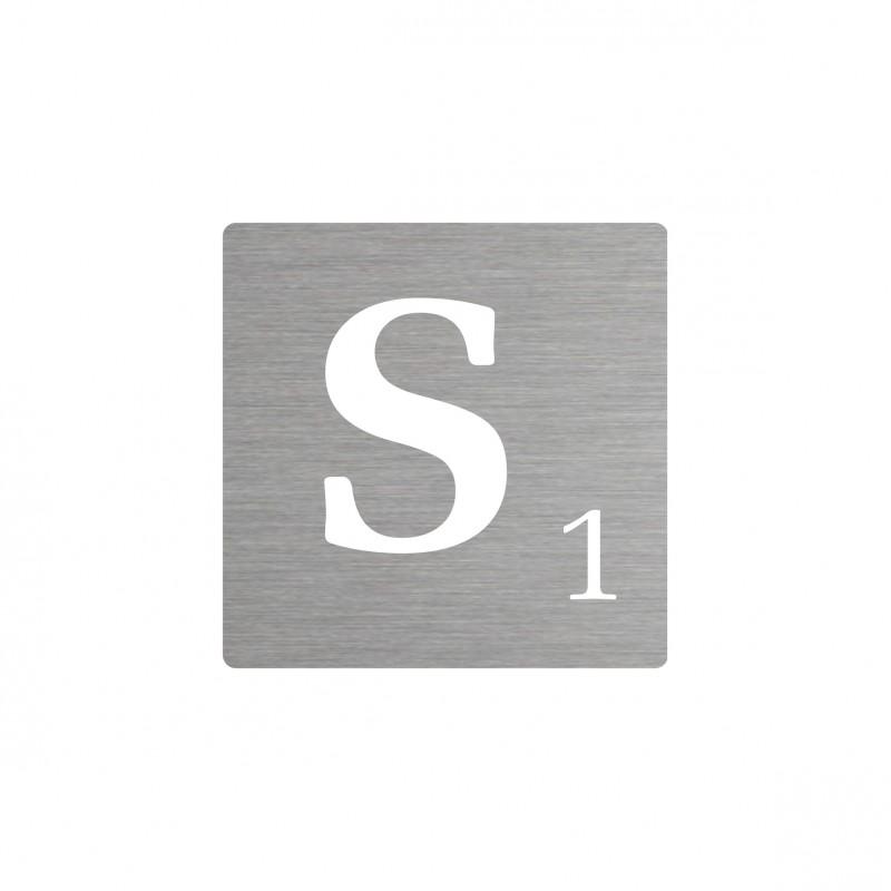 Lettre s d corative type scrabble en aluminium - Lettre scrabble deco ...
