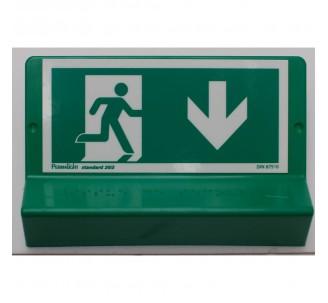 Support de signalisation symbole & braille Sortie de secours avec flèche en bas côté droit