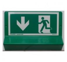 Support de signalisation symbole & braille   Sortie de secours avec flèche en bas côté gauche