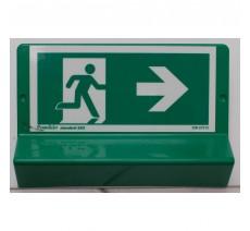 Support de signalisation symbole & braille   Sortie de secours vers la droite