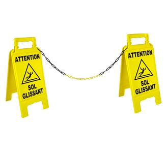 """Kit de 2 chevalets """"Dangers"""" + 5 m de chaîne"""