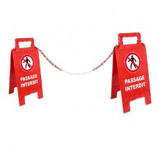 """Kit de 2 chevalets """"Passaege interdit"""" + 5 m de chaîne"""