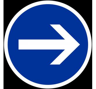 """Kit ou panneau seul type routier """"Obligation de tourner à droite"""" ref: B21-1"""