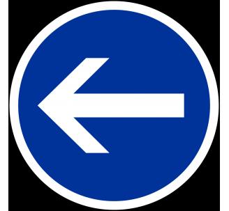 """Kit ou panneau seul type routier """"Obligation de tourner à gauche"""" ref: B21-2"""