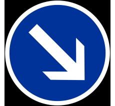 """Kit ou panneau seul type routier """"Contournement obligatoire par la droite"""" ref: B21a1"""