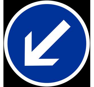 """Kit ou panneau seul type routier """"Contournement obligatoire par la gauche"""" ref: B21a2"""