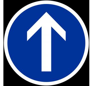 """Kit ou panneau seul type routier """"Direction obligatoire, tout droit"""" ref: B21b"""