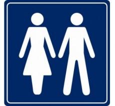 Pictogramme plexi couleur toilettes mixtes
