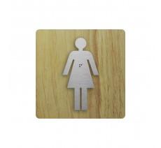 """Picto """"Côté bois"""" avec braille Toilettes femmes"""