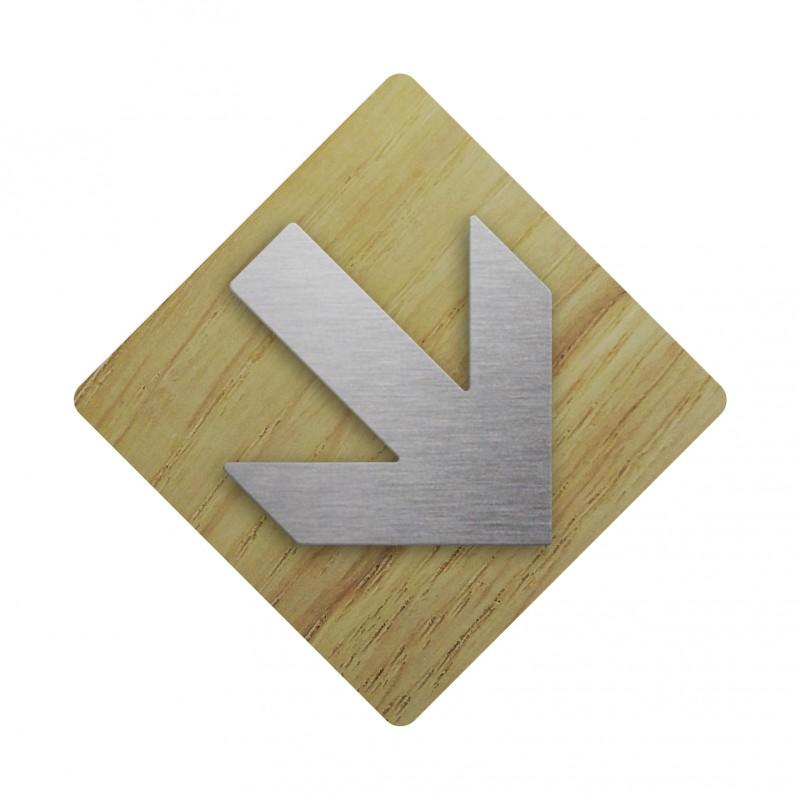 plaque bois symbole en alu fl che en bas vers la droite. Black Bedroom Furniture Sets. Home Design Ideas