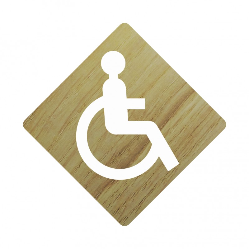 Plaque porte c t bois toilettes handicap en couleur for Porte handicape