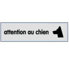 Plaque de porte plexi argent attention au chien