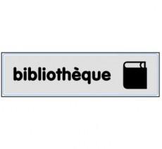 Plaque de porte plexi argent bibliothèque