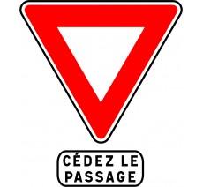 """Kit ou Panneau type routier """"Cédez le passage """" ref:AB3a + M9c"""