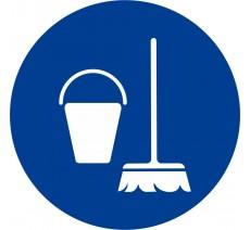 Plaque porte alu picto rond Logo local ménage