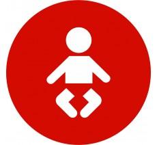 Plaque porte alu picto rond Nurserie