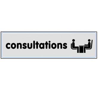 Plaque de porte plexi argent consultations