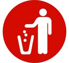 Plaque porte alu ou pvc picto rond poubelle