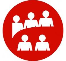 Plaque porte alu ou pvc picto rond Logo salle de réunion